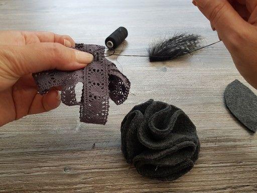 Maintient de la dentelle en étoile pour la réalisation d'une fleur en tissu