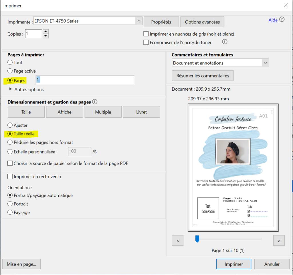 Impression de la page de garde des patrons PDF en taille réelle