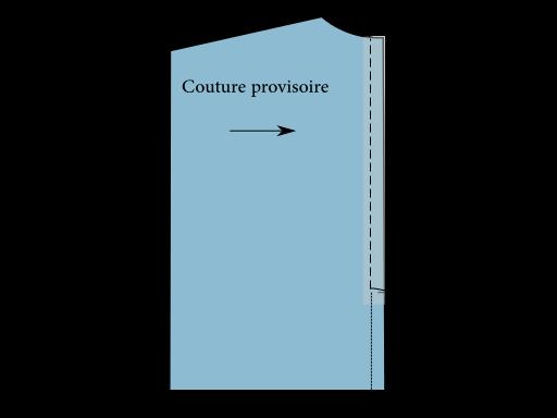 Pose d'une fermeture éclair bord à bord : Réaliser une couture provisoire