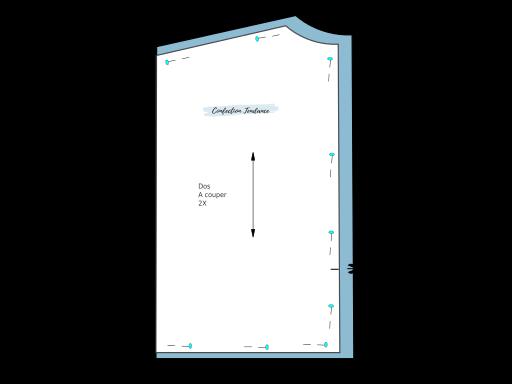 Pose d'une fermeture bord à bord : Marquer le cran de fin de zip sur la pièce